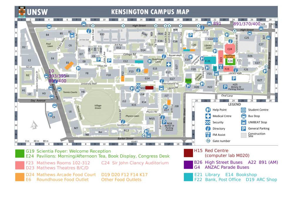 map of unsw campus 1st Prima Congress Local Information Maps map of unsw campus